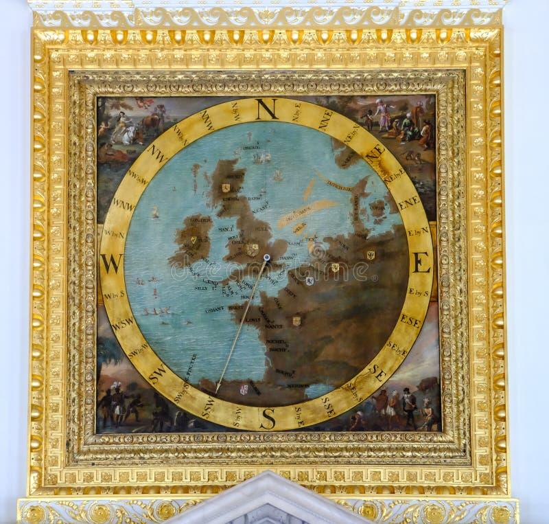 有英国地图的葡萄酒校园 免版税库存照片