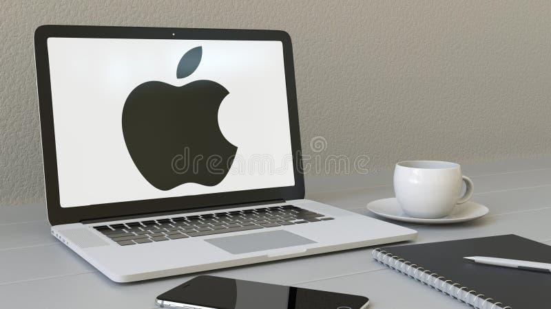 有苹果计算机的公司膝上型计算机 在屏幕上的商标 大厦入口现代办公室 现代工作场所概念性社论3D 皇族释放例证