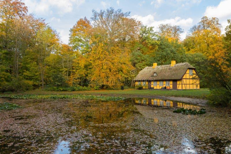 有茅屋顶的老半木料半灰泥的房子在Charlottenlund,丹麦 库存图片