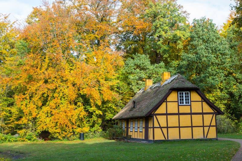 有茅屋顶的老半木料半灰泥的房子在Charlottenlund,丹麦 免版税库存图片