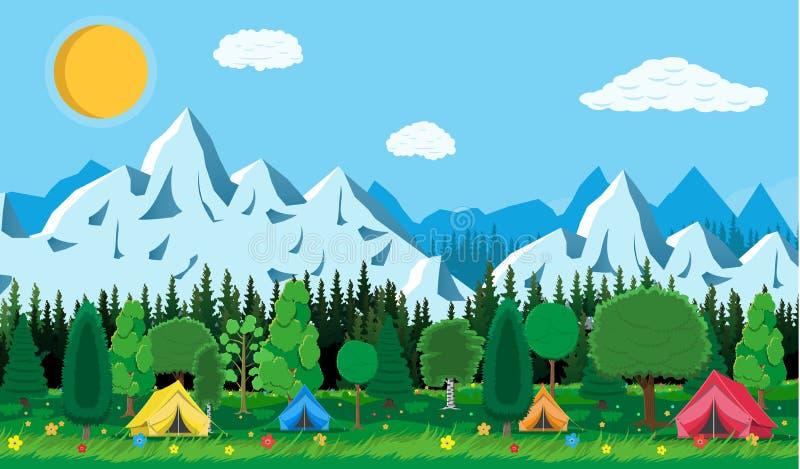 有草和野营的草甸 向量例证