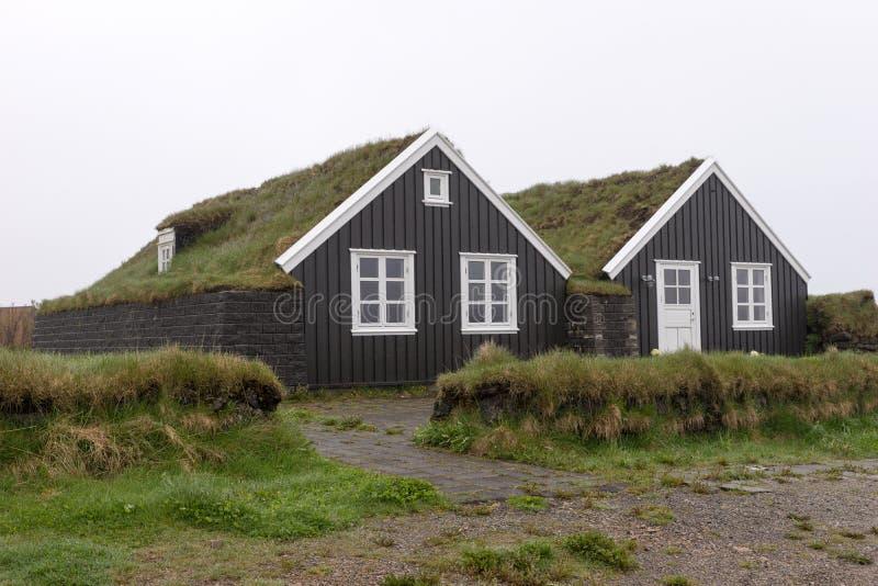 有草屋顶的传统黑暗的冰岛房子 库存图片