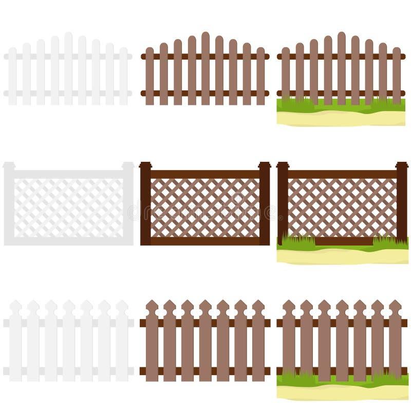 有草的木篱芭 向量例证