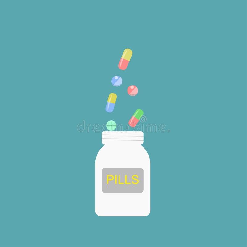 有药片和片剂的,医学药瓶 医疗保健 医疗传染媒介例证 库存例证