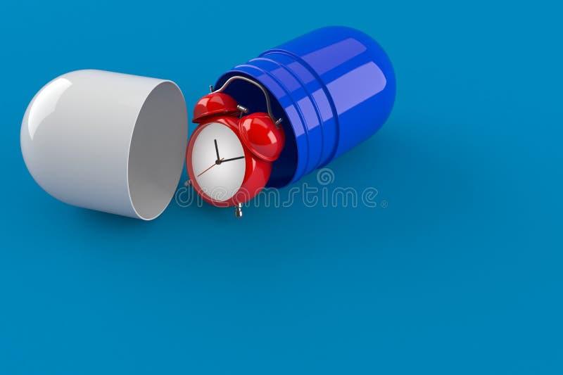 有药片的闹钟 库存例证