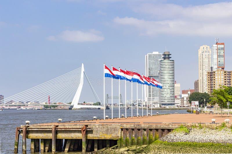 有荷兰旗子的九个旗杆在Katendrecht半岛的头有在背景中在坏蛋的Erasmus桥梁 库存图片