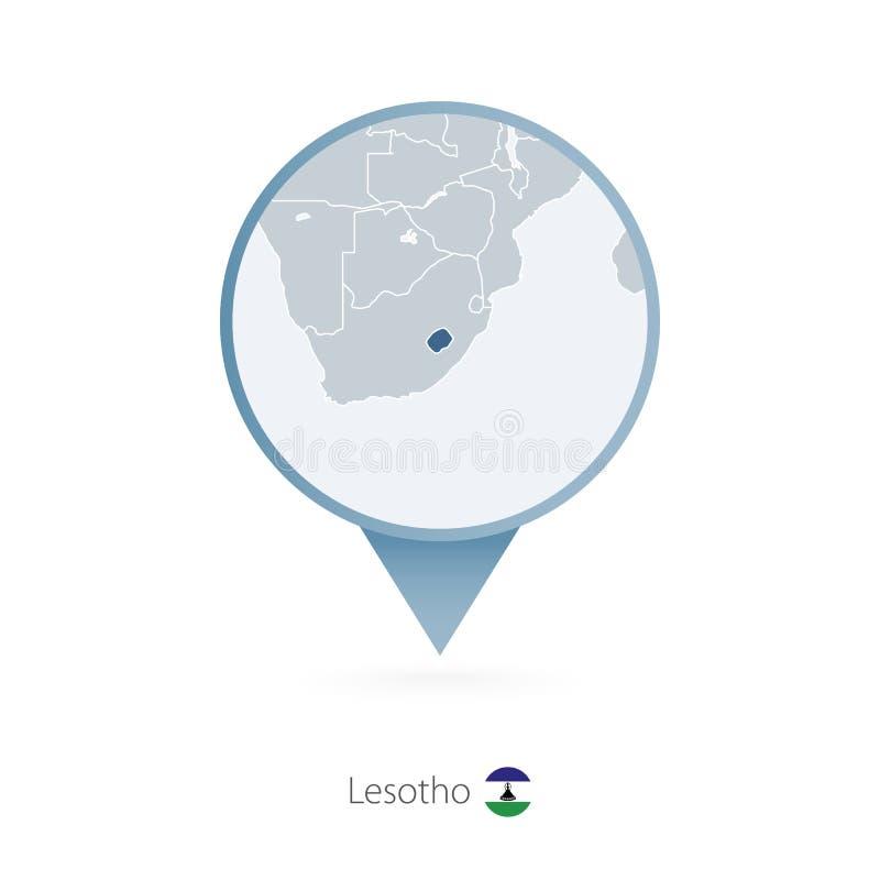 有莱索托和邻国详细的地图的地图别针  库存例证