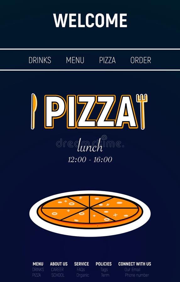 有菜单线、叉子和刀子最小的体育样式的薄饼网站在蓝色背景 图库摄影