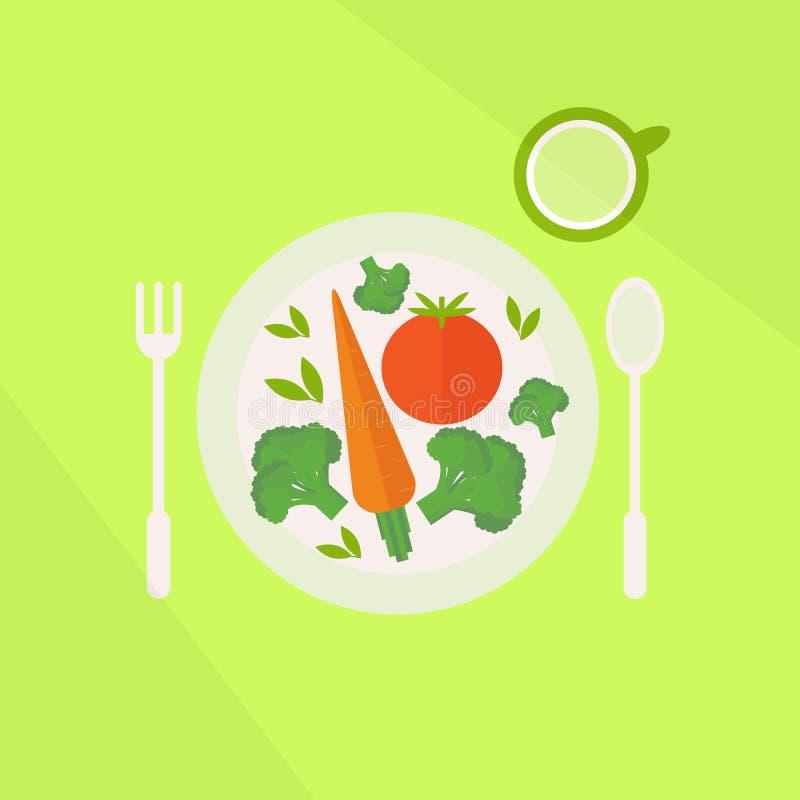 有菜和杯的板材在桌上的汁液 素食食物概念 向量例证
