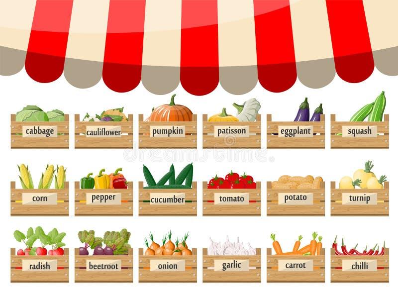 有菜的木超级市场箱子 向量例证
