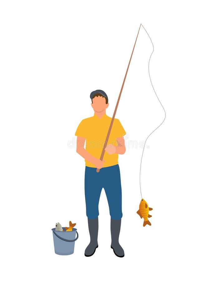 有菲希尔标尺传染媒介例证的渔夫 库存例证