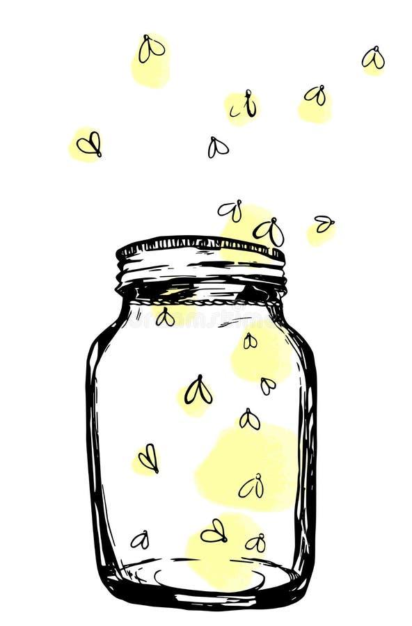 有萤火虫的瓶子 设计的手拉的艺术性的例证,纺织品,打印 库存例证