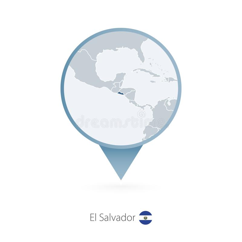 有萨尔瓦多和邻国详细的地图的地图别针  皇族释放例证
