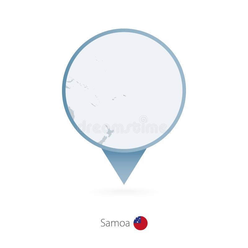有萨摩亚和邻国详细的地图的地图别针  库存例证