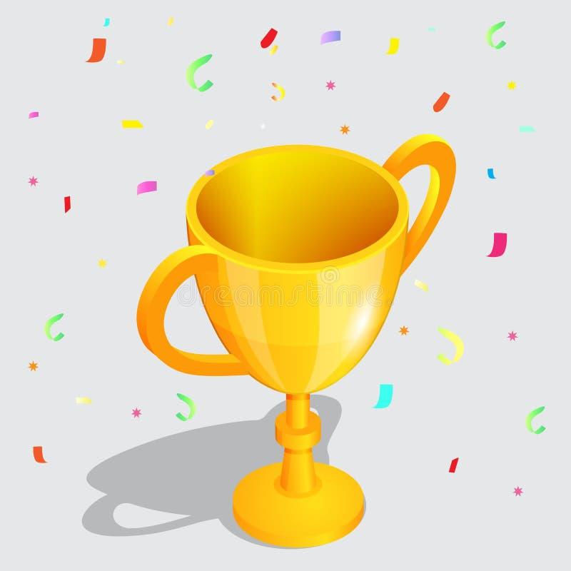 有落的五彩纸屑的现实冠军金杯子编结传染媒介例证 在体育金黄战利品的成就 皇族释放例证