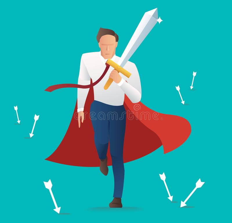 有落的箭头的商人冲突积极的举行的剑,成功企业概念 皇族释放例证