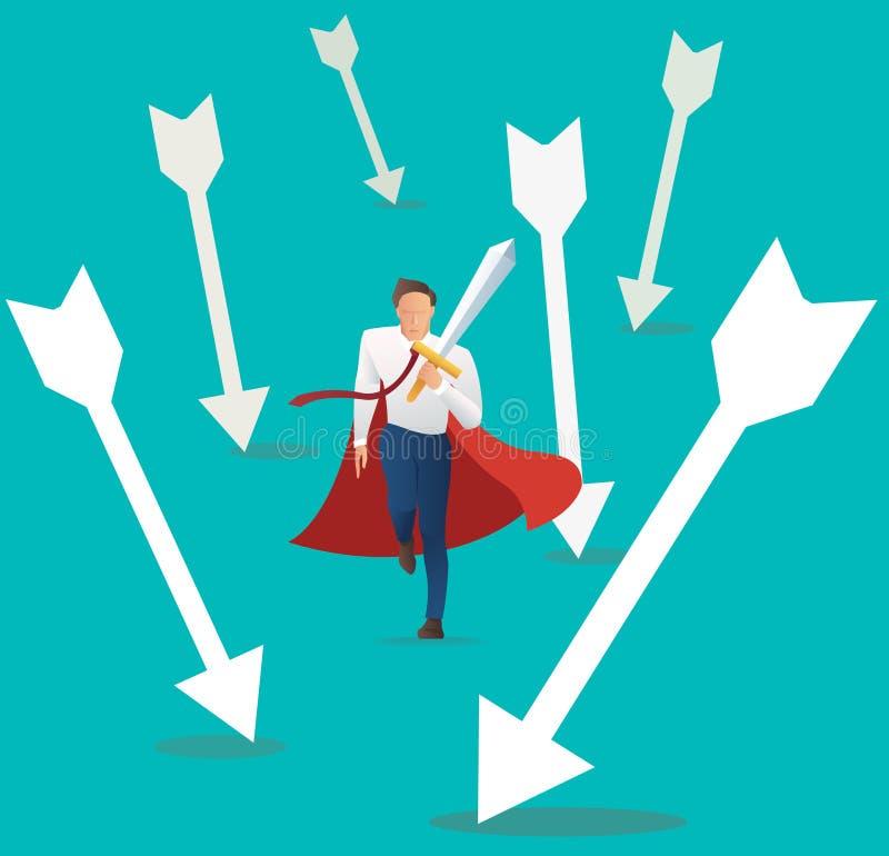 有落的箭头的商人冲突积极的举行的剑,成功企业概念 向量例证