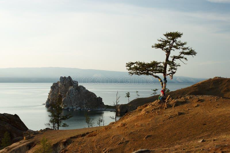 有落矶山脉全景的Baikal湖在俄罗斯 库存图片
