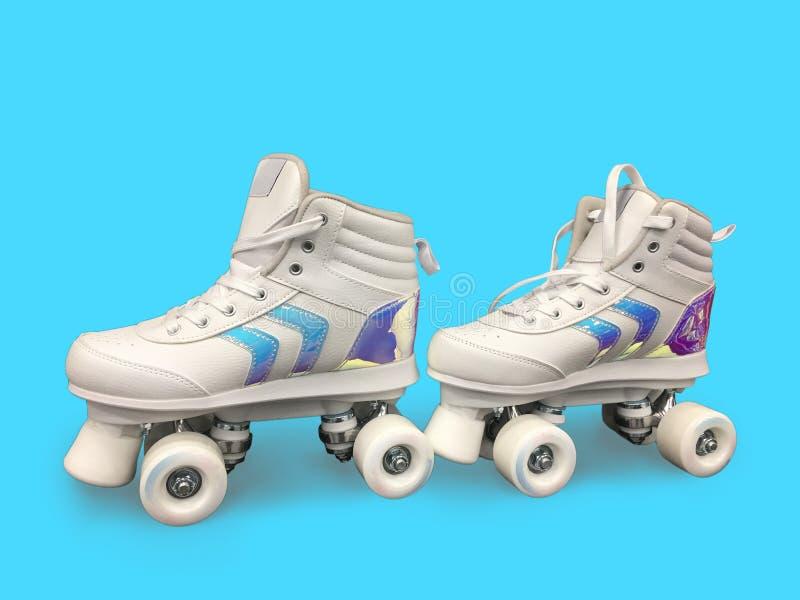有葡萄酒溜冰鞋的妇女在颜色背景,特写镜头 r 跳舞的路辗 r 免版税库存图片