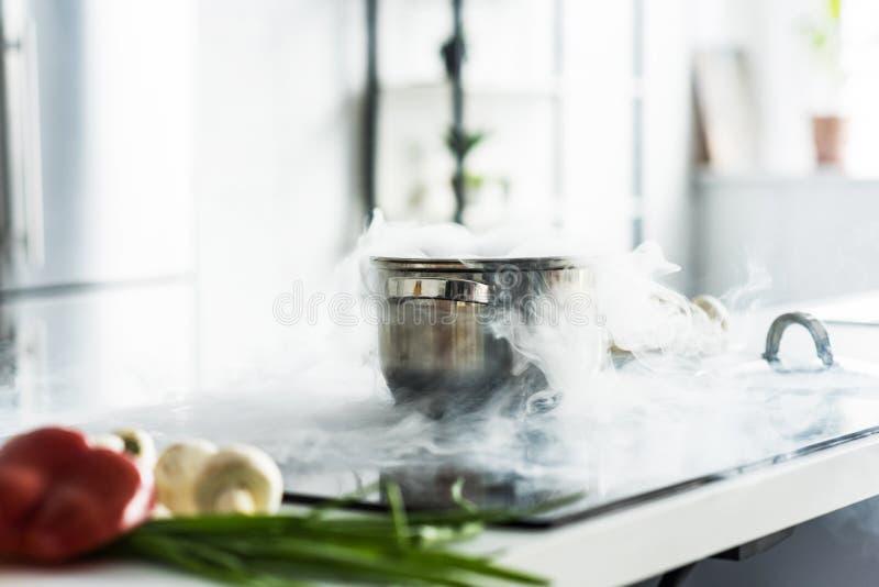 有蒸汽的平底锅在电火炉 免版税库存照片