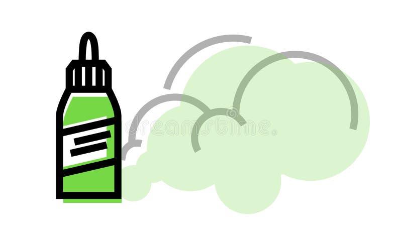 有蒸汽的Vape液体瓶 在白色背景的被隔绝的几何样式例证 免版税库存照片