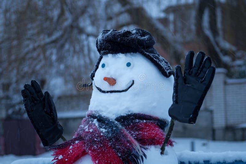 有蓝眼睛和红萝卜鼻子的微笑的雪人在街道上 库存照片