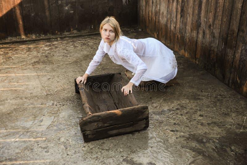 有蓝眼睛的白种人金发碧眼的女人在养猪场工作作为兽医 免版税库存照片