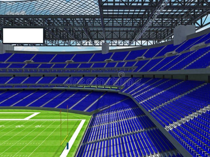 有蓝色位子的现代橄榄球体育场 库存例证