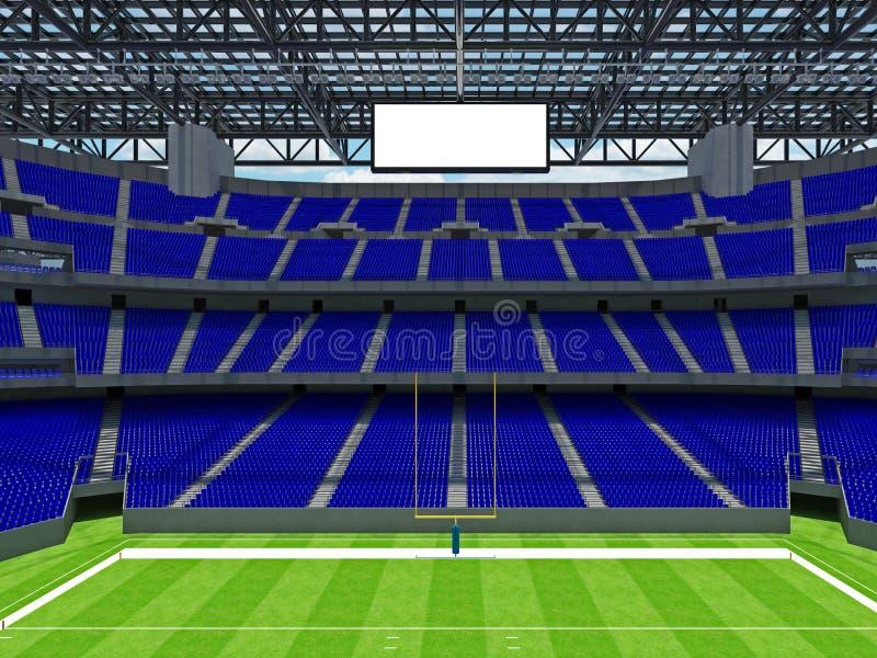 有蓝色位子的现代橄榄球体育场 皇族释放例证