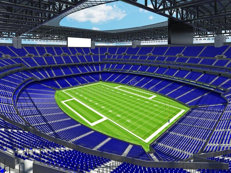 有蓝色位子的现代橄榄球体育场 向量例证
