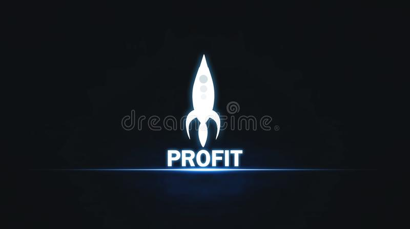 有蓝色光的赢利火箭 到达天空的企业概念金黄回归键所有权 图库摄影