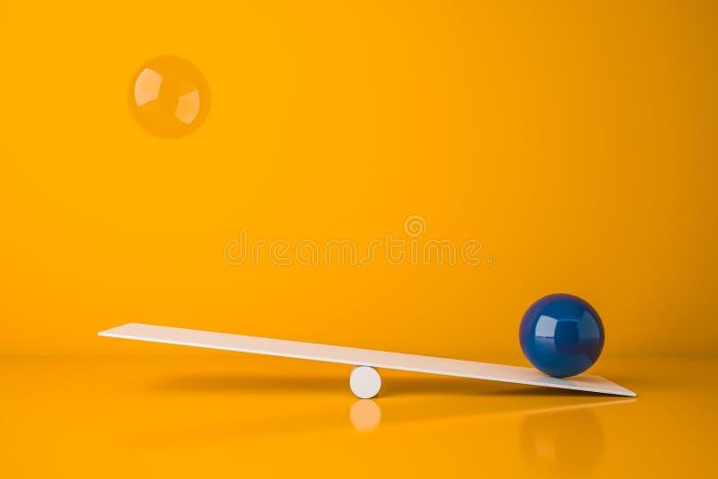 有蓝色和玻璃球形的跷跷板 库存例证