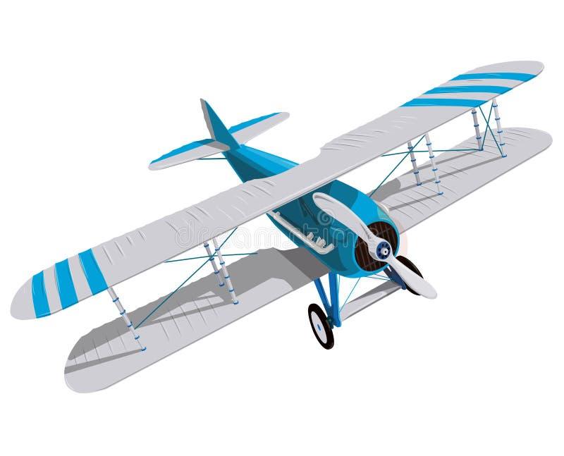 有蓝色和白色涂层的双翼飞机 有两个翼的模型飞机推进器 向量例证