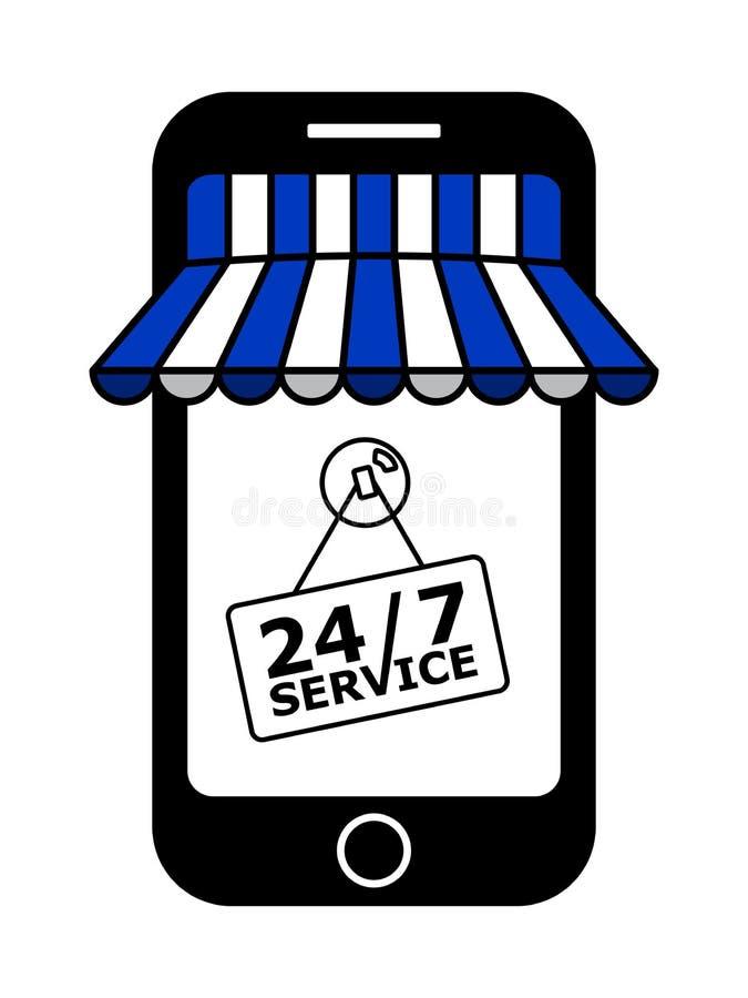 有蓝色和白色遮篷的网上商店 皇族释放例证
