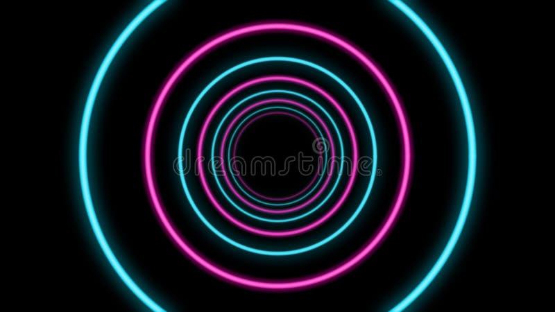 有蓝色和粉色的抽象隧道 皇族释放例证