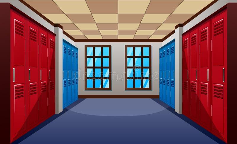有蓝色和红色衣物柜行的一个现代学校走廊  皇族释放例证