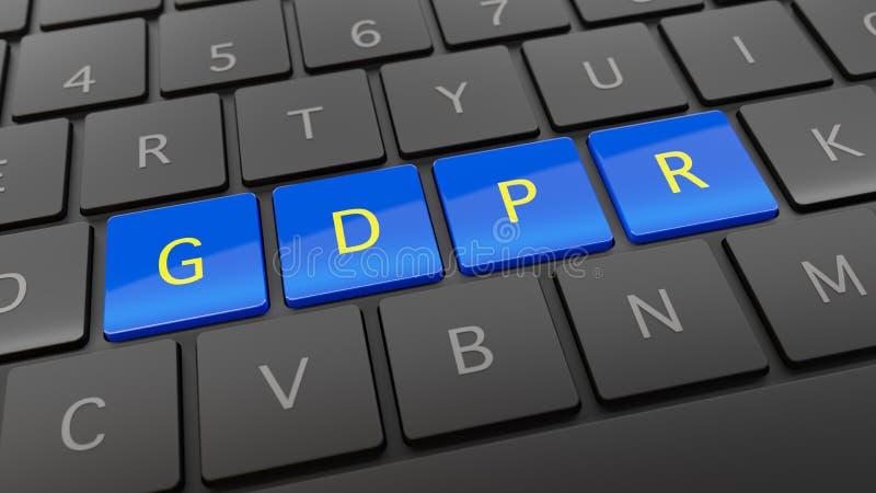 有蓝色和黄色GDPR钥匙的黑键盘 皇族释放例证
