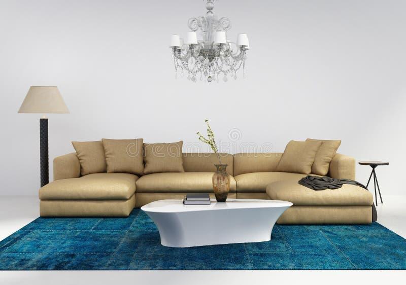 有蓝色地毯的当代时髦的客厅 免版税库存图片