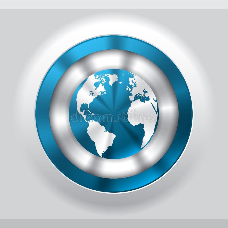 有蓝色地球的凉快的金属按钮 库存例证