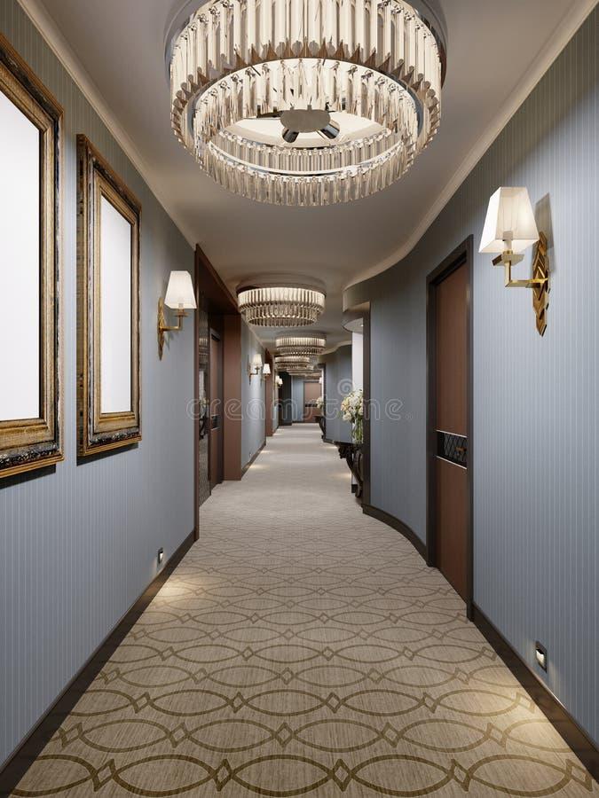 有蓝色墙壁、装饰适当位置与控制台和玻璃枝形吊灯的豪华现代走廊 大厅的室内设计与 库存例证