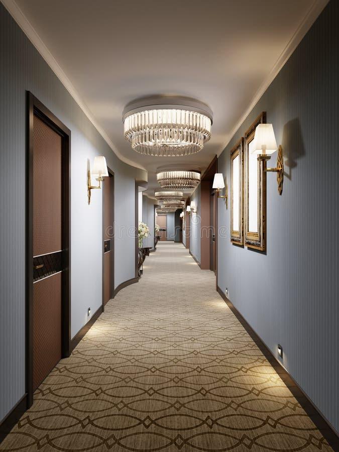 有蓝色墙壁、装饰适当位置与控制台和玻璃枝形吊灯的豪华现代走廊 大厅的室内设计与 皇族释放例证