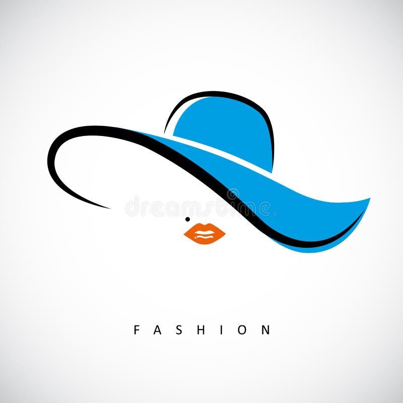 有蓝色夏天帽子时尚设计的性感的夫人 库存例证