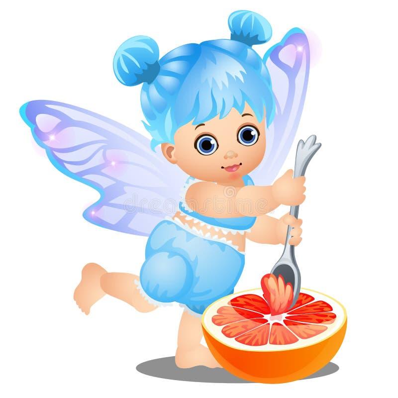 有蓝色头发和神仙的翼的一个小愉快的女孩吃与在白色背景隔绝的匙子的葡萄柚 向量 向量例证