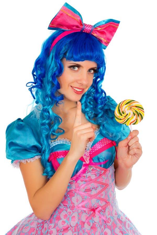 有蓝色头发的少妇 免版税库存照片