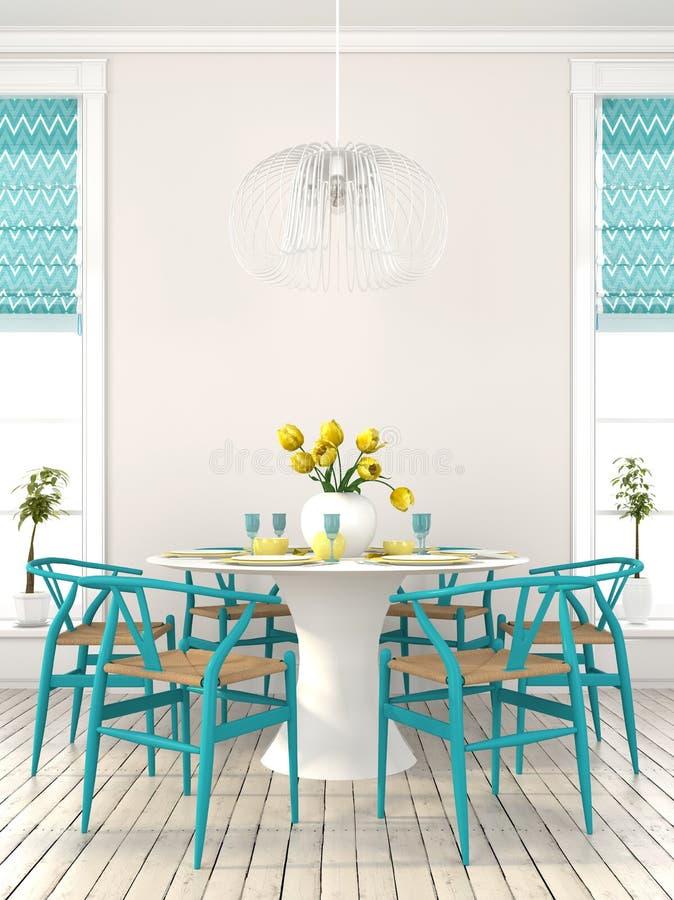 有蓝色家具的时髦的餐厅 皇族释放例证