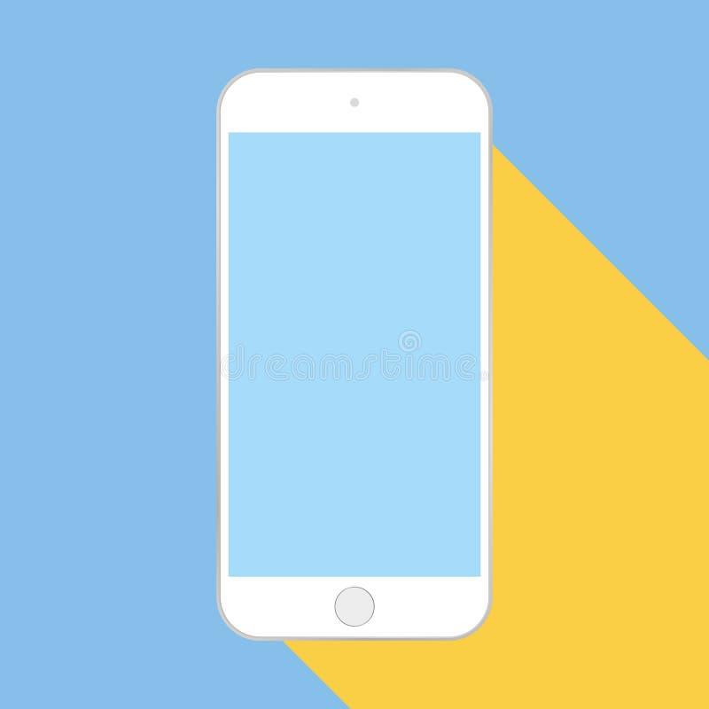 有蓝色屏幕和黄色阴影平的样式手机的白色智能手机在蓝色背景传染媒介图片