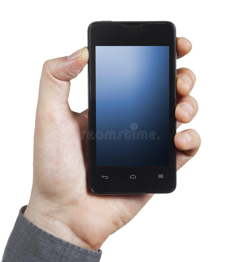 有蓝色屏幕的智能手机 免版税库存照片