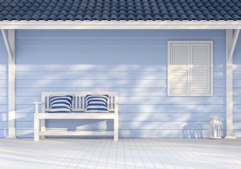 有蓝色木板条的3d空的外墙回报 向量例证