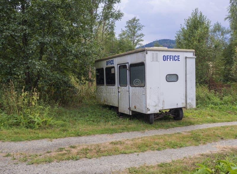 有蓝色标志办公室的小白色拖车房子,在农村风景的被放弃的有蓬卡车在小径附近,绿草和树 库存照片