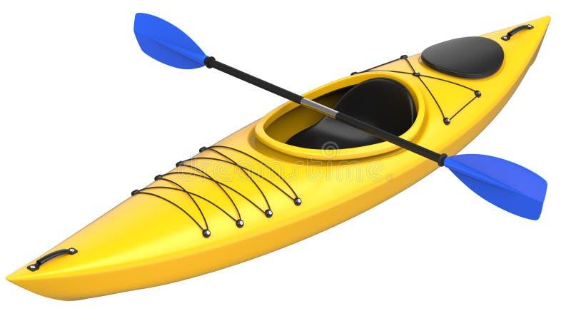 有蓝色桨的黄色塑料皮船 3D在白色背景回报,隔绝 皇族释放例证